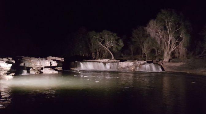 hunt camp waterfall view